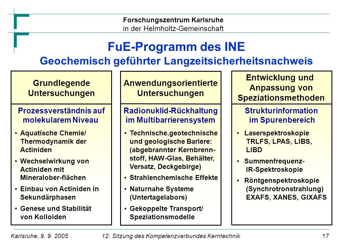 FuE-Programm des INE Geochemisch geführter Langzeitsicherheitsnachweis
