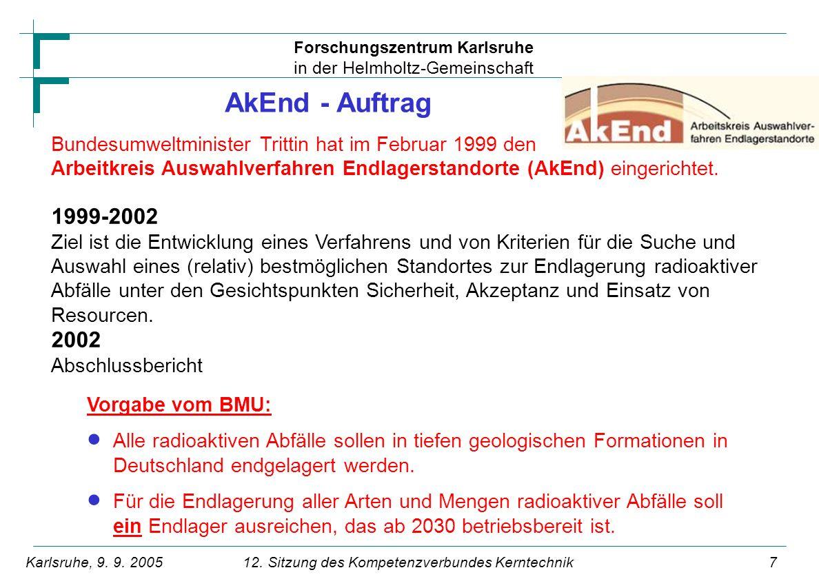 AkEnd - Auftrag Bundesumweltminister Trittin hat im Februar 1999 den Arbeitkreis Auswahlverfahren Endlagerstandorte (AkEnd) eingerichtet.