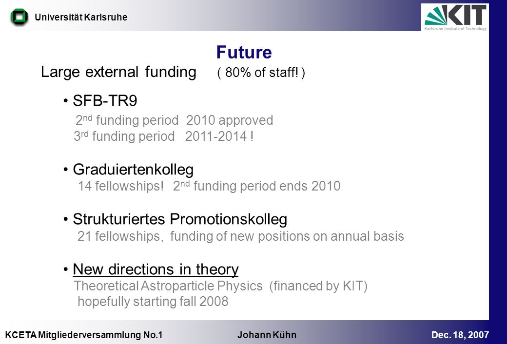 Future Large external funding ( 80% of staff! ) SFB-TR9