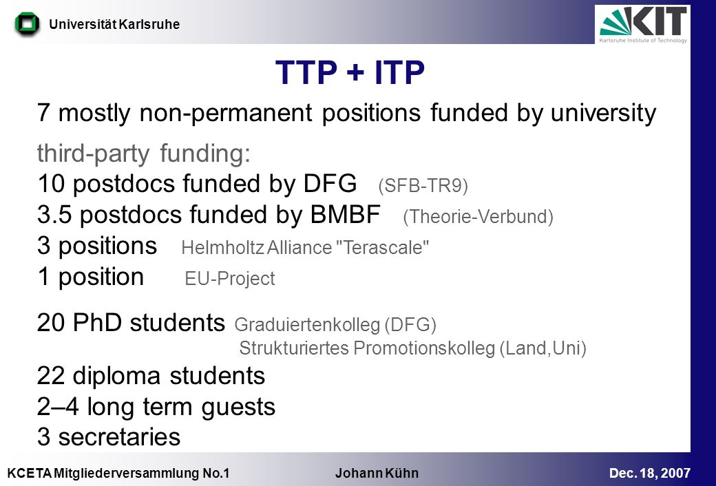 TTP + ITP 7 mostly non-permanent positions funded by university