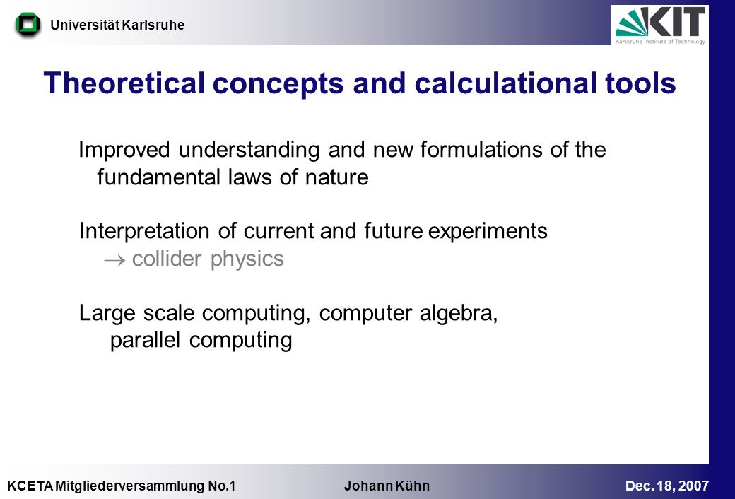 Theoretical concepts and calculational tools