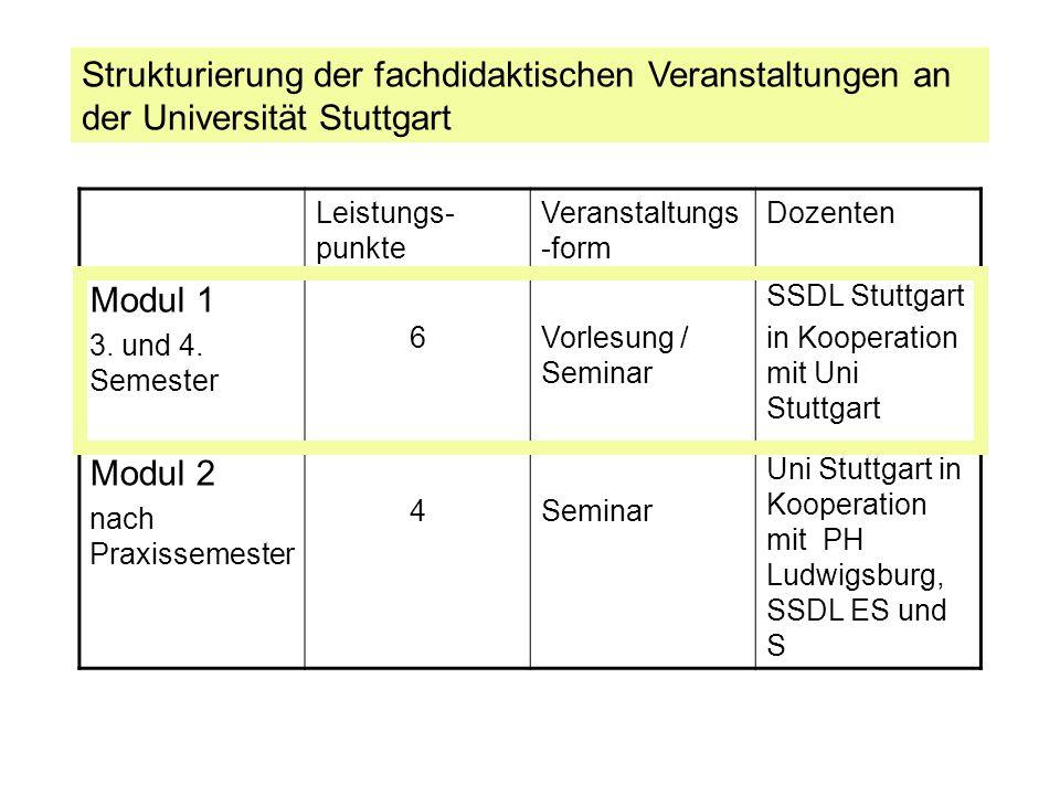 Strukturierung der fachdidaktischen Veranstaltungen an der Universität Stuttgart
