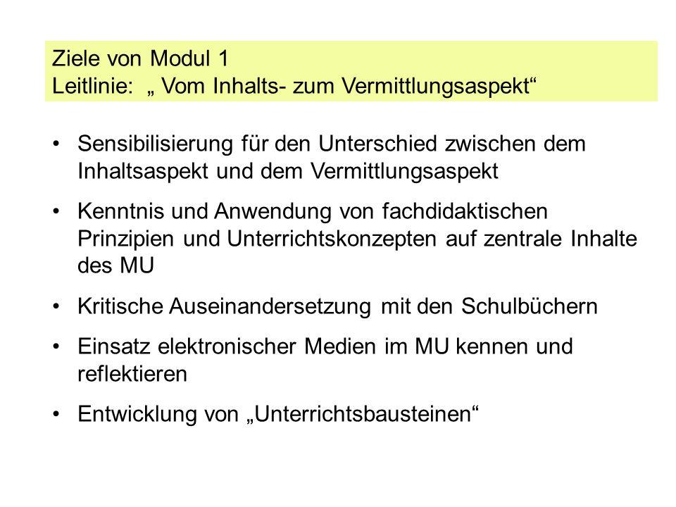 """Ziele von Modul 1 Leitlinie: """" Vom Inhalts- zum Vermittlungsaspekt"""