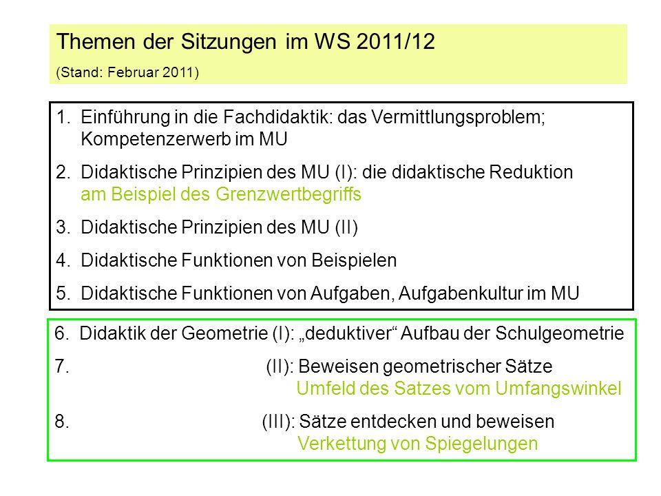 Themen der Sitzungen im WS 2011/12