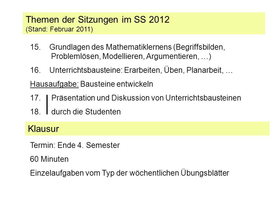 Themen der Sitzungen im SS 2012