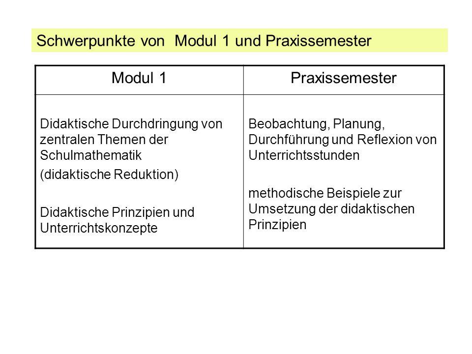 Schwerpunkte von Modul 1 und Praxissemester Modul 1 Praxissemester