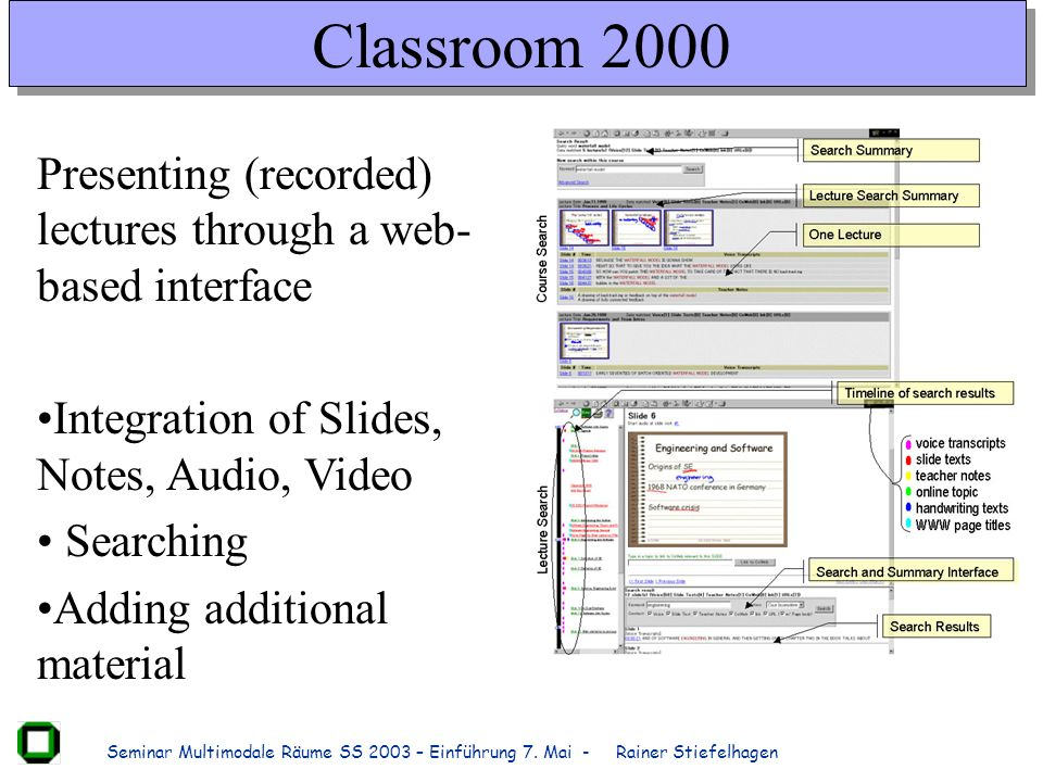 Classroom 2000 Presenting (recorded) lectures through a web-based interface. Integration of Slides, Notes, Audio, Video.
