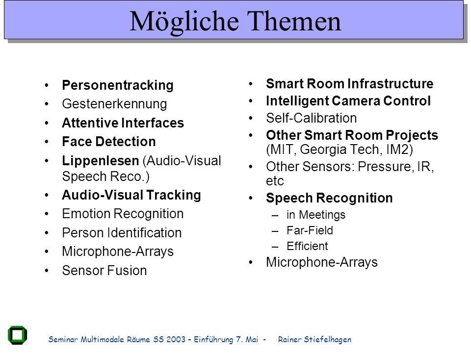 Mögliche Themen Personentracking Gestenerkennung Attentive Interfaces