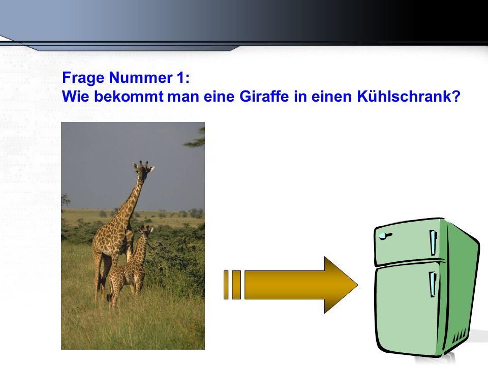 Frage Nummer 1: Wie bekommt man eine Giraffe in einen Kühlschrank