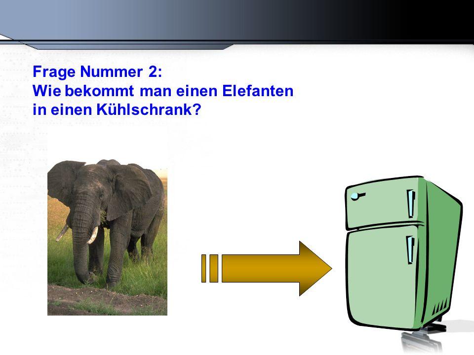 Frage Nummer 2: Wie bekommt man einen Elefanten in einen Kühlschrank
