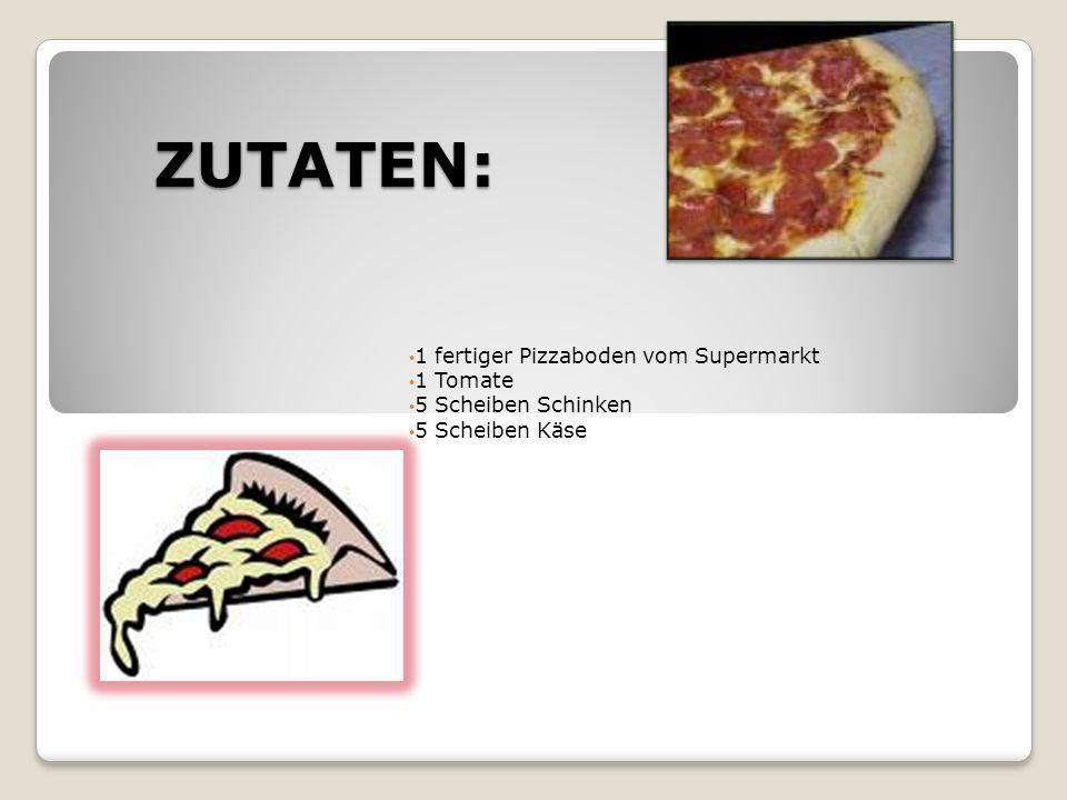 ZUTATEN: 1 fertiger Pizzaboden vom Supermarkt 1 Tomate