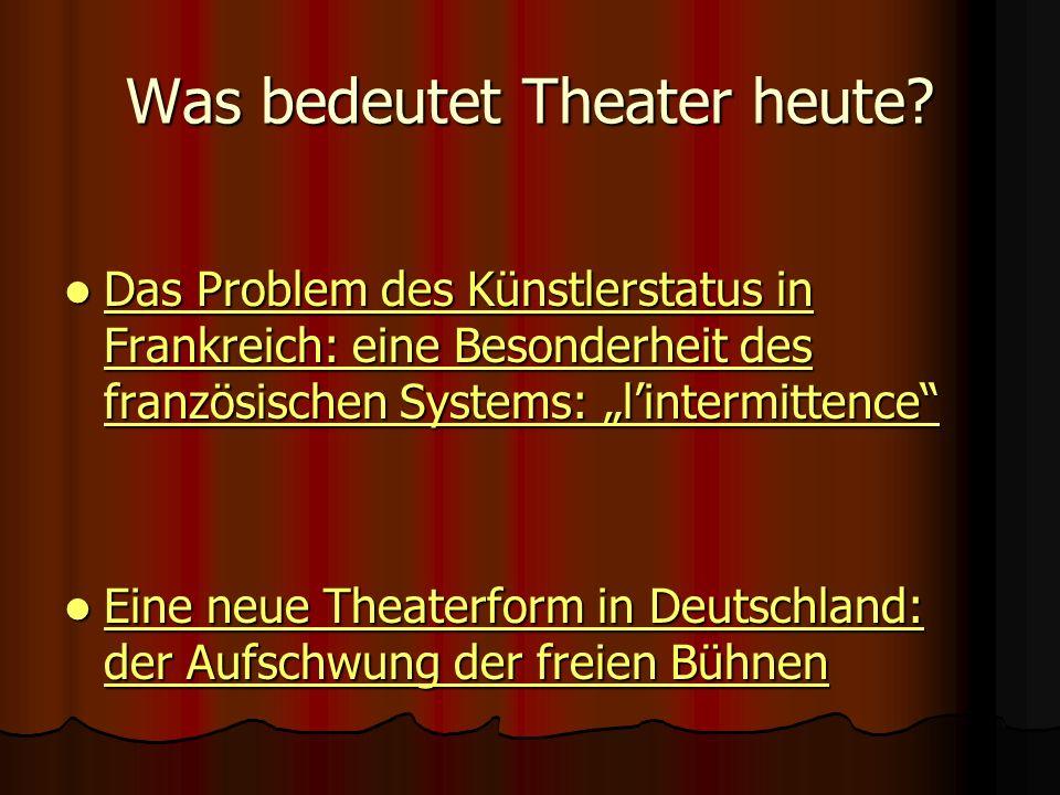 Was bedeutet Theater heute