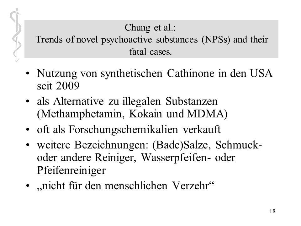 Nutzung von synthetischen Cathinone in den USA seit 2009