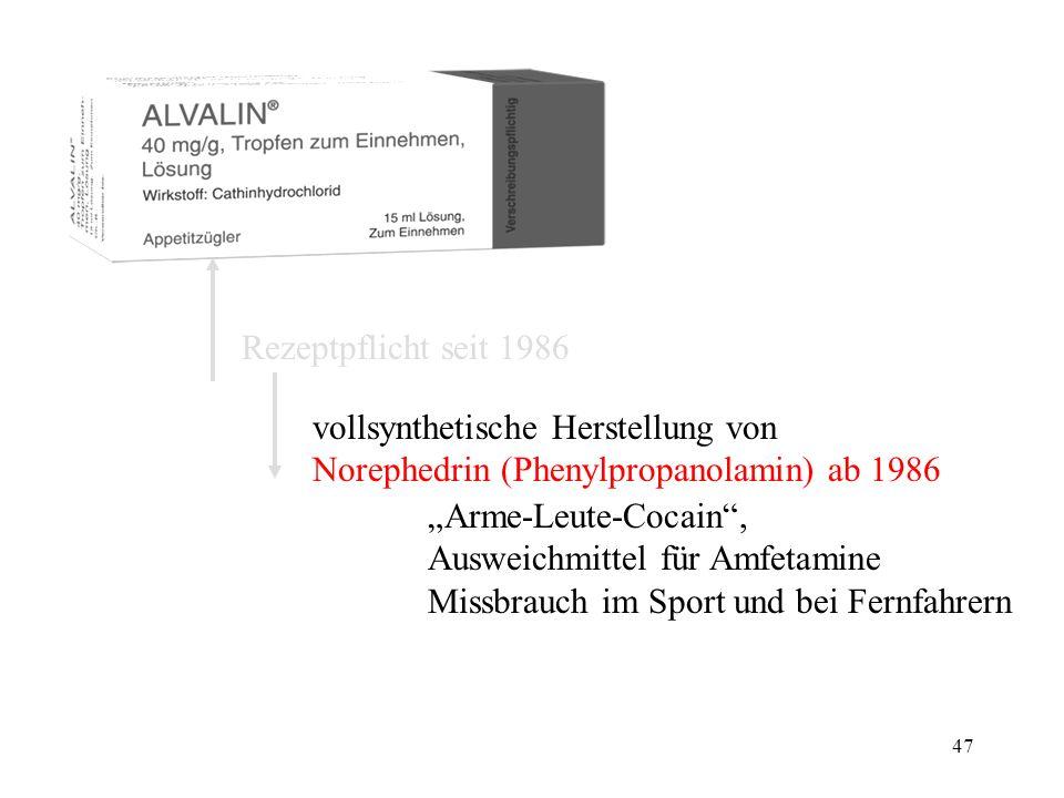 Rezeptpflicht seit 1986 vollsynthetische Herstellung von. Norephedrin (Phenylpropanolamin) ab 1986.