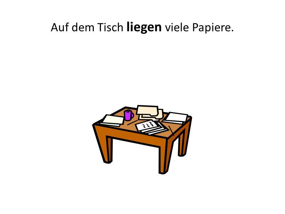 Auf dem Tisch liegen viele Papiere.