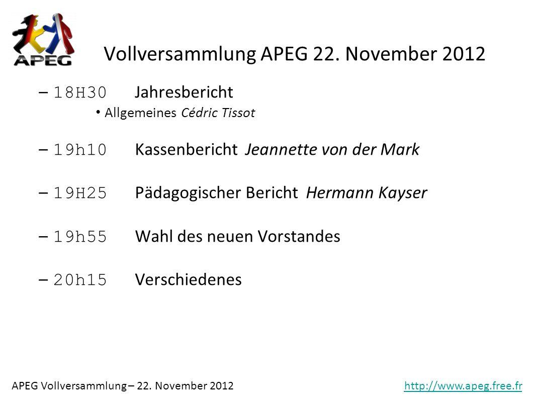 Vollversammlung APEG 22. November 2012