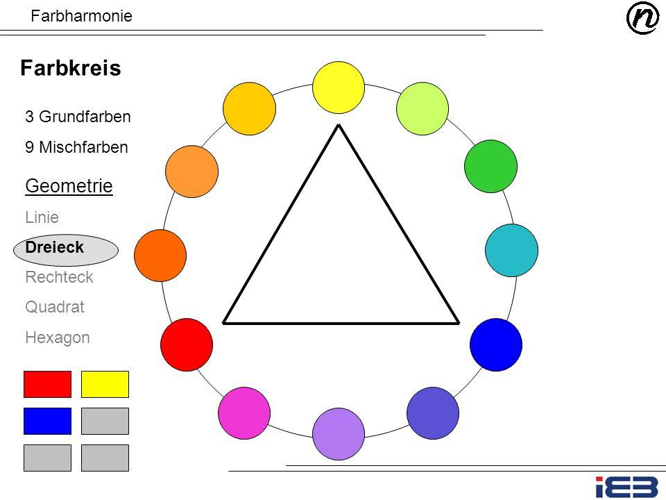 Farbkreis Geometrie Farbharmonie 3 Grundfarben 9 Mischfarben Linie