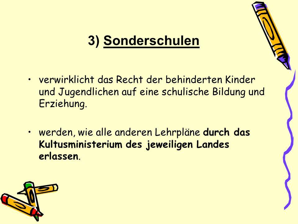3) Sonderschulen verwirklicht das Recht der behinderten Kinder und Jugendlichen auf eine schulische Bildung und Erziehung.