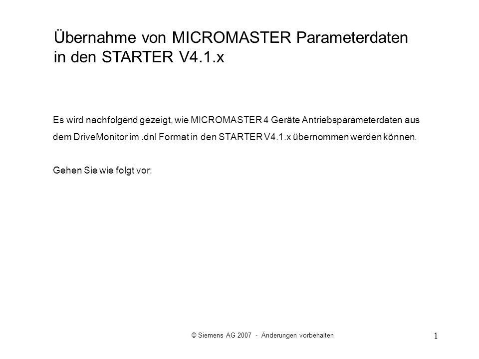 Übernahme von MICROMASTER Parameterdaten in den STARTER V4.1.x