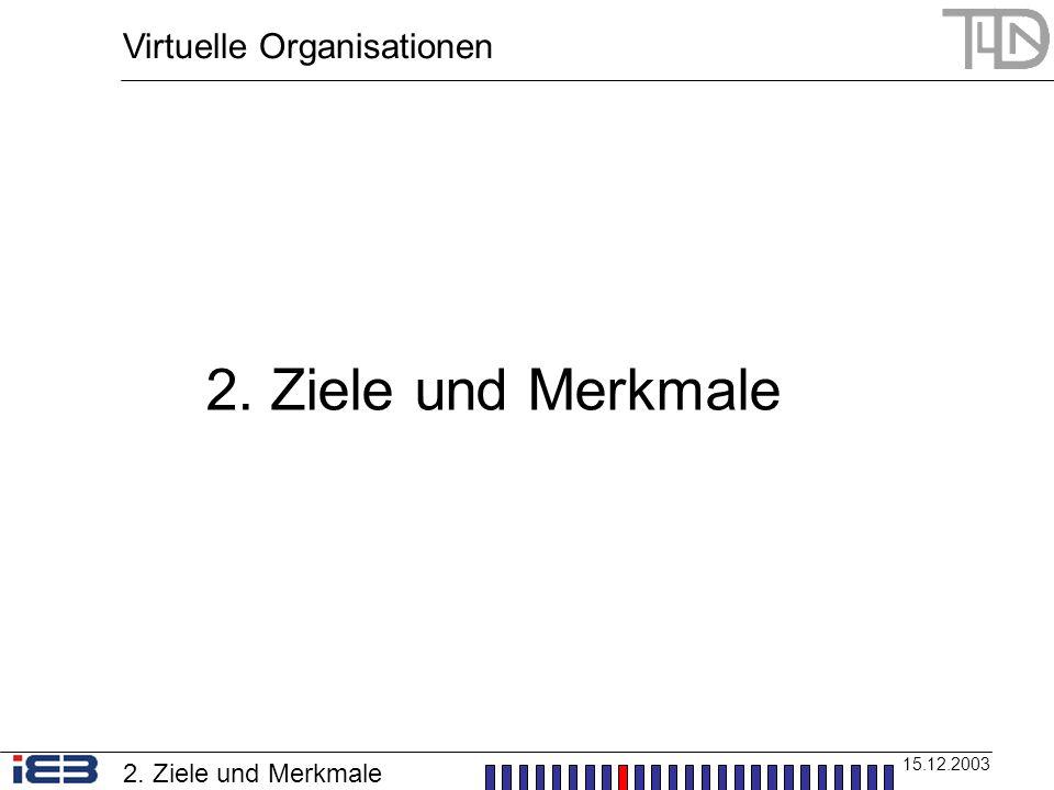 2. Ziele und Merkmale Virtuelle Organisationen 2. Ziele und Merkmale