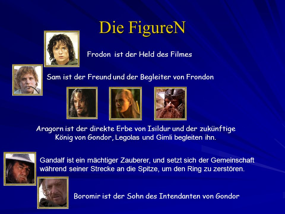 Die FigureN Frodon ist der Held des Filmes