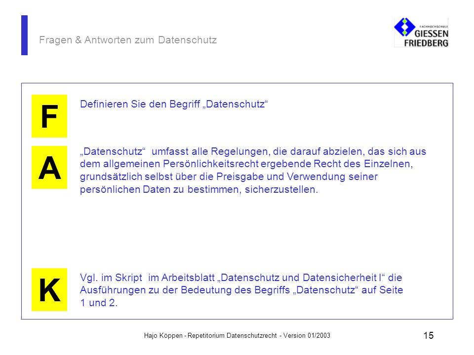Hajo Köppen - Repetitorium Datenschutzrecht - Version 01/2003