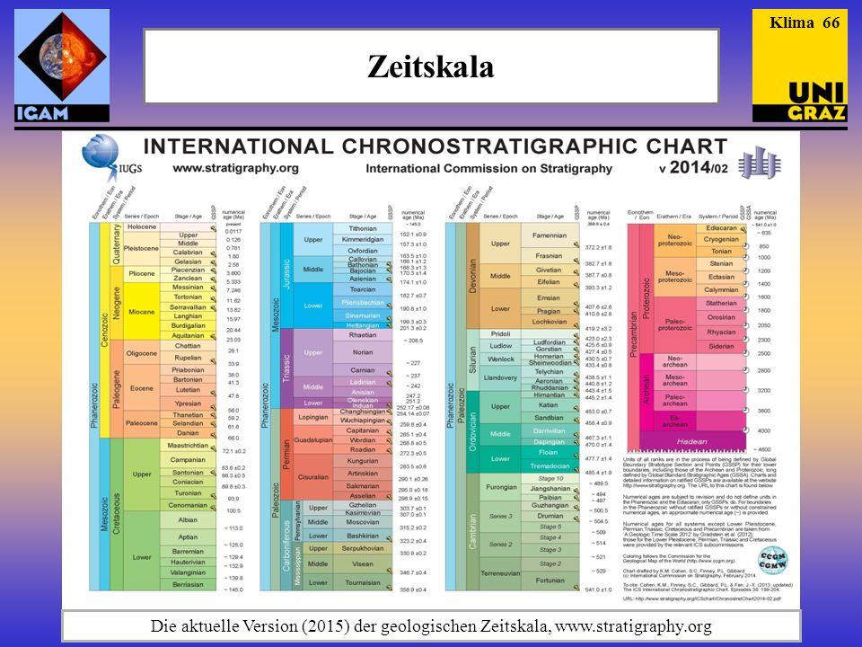 Klima 66 Zeitskala Die aktuelle Version (2015) der geologischen Zeitskala, www.stratigraphy.org