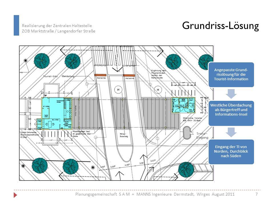 Grundriss-Lösung Angepasste Grund-risslösung für die Tourist-Information. Westliche Überdachung als Bürgertreff und Informations-Insel.