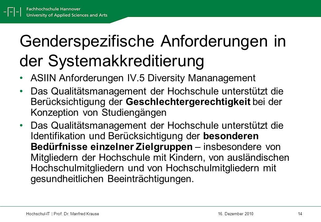 Genderspezifische Anforderungen in der Systemakkreditierung