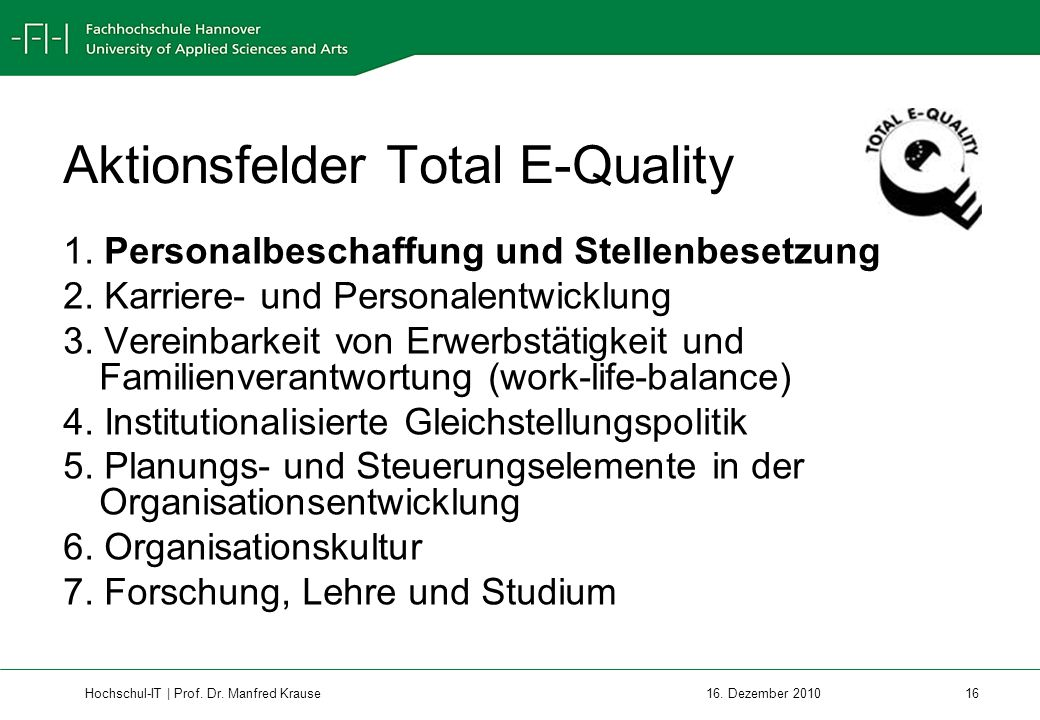 Aktionsfelder Total E-Quality