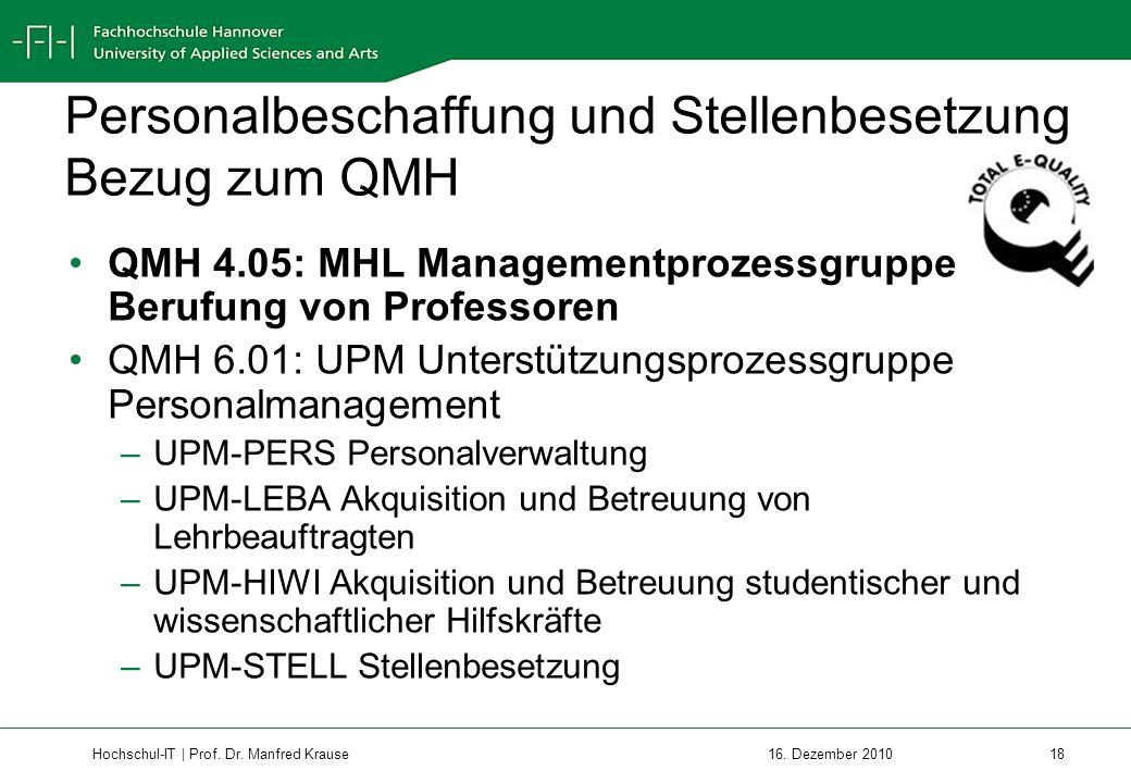 Personalbeschaffung und Stellenbesetzung Bezug zum QMH