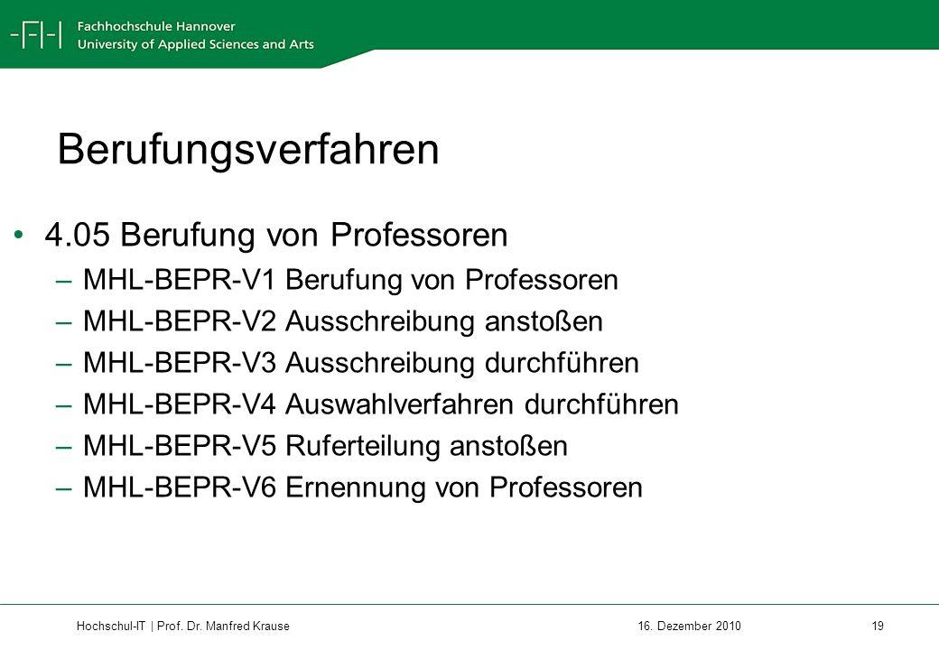 Berufungsverfahren 4.05 Berufung von Professoren