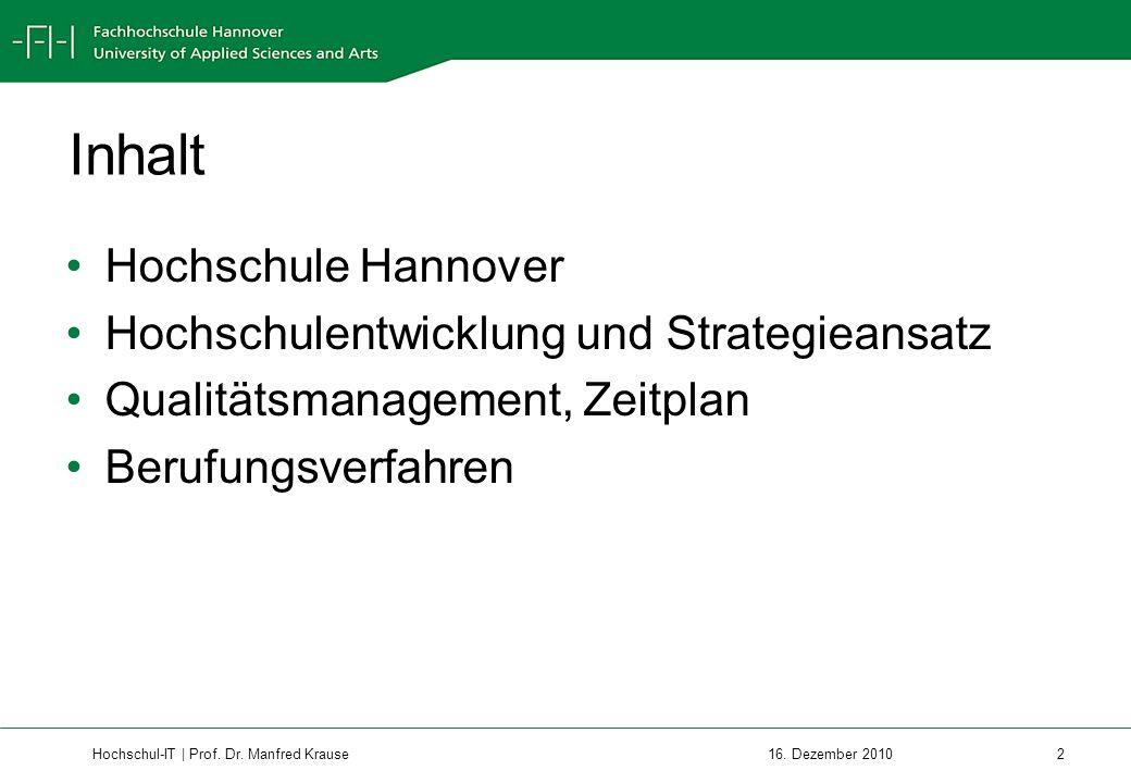 Inhalt Hochschule Hannover Hochschulentwicklung und Strategieansatz