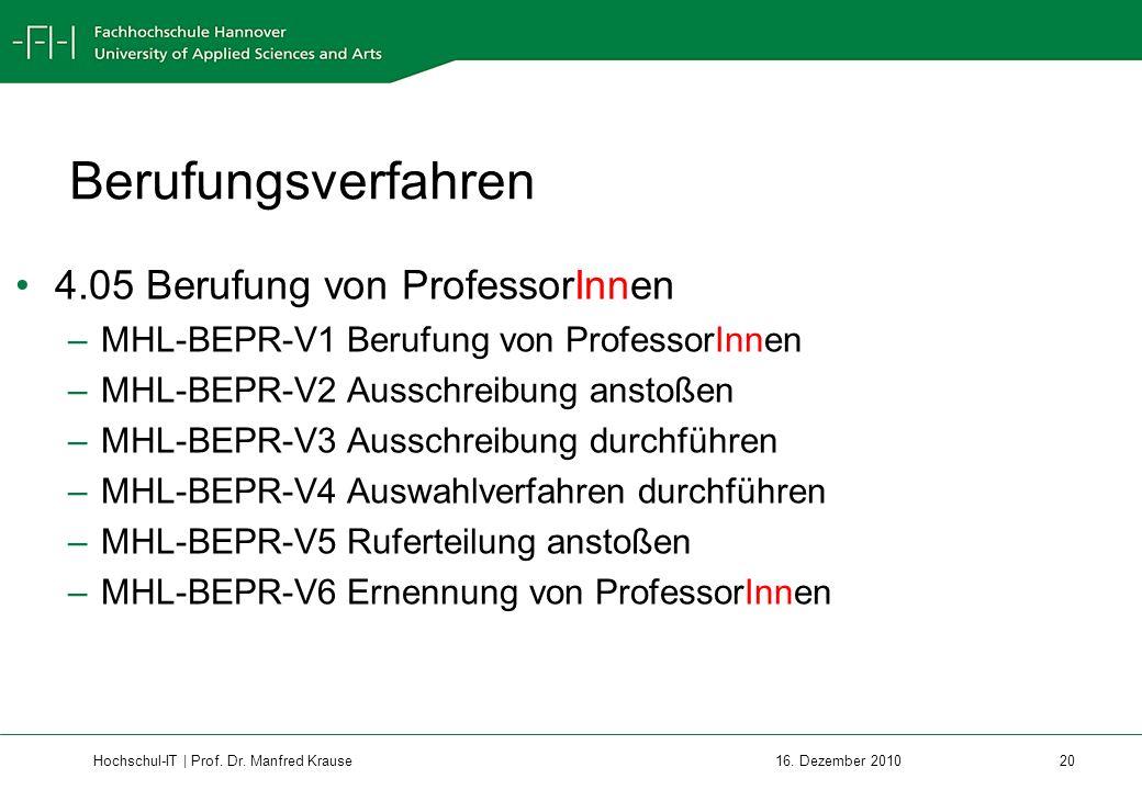 Berufungsverfahren 4.05 Berufung von ProfessorInnen