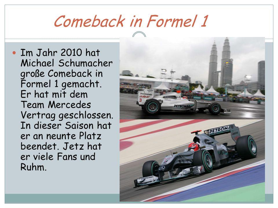 Comeback in Formel 1