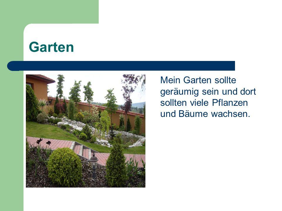 Garten Mein Garten sollte geräumig sein und dort sollten viele Pflanzen und Bäume wachsen.