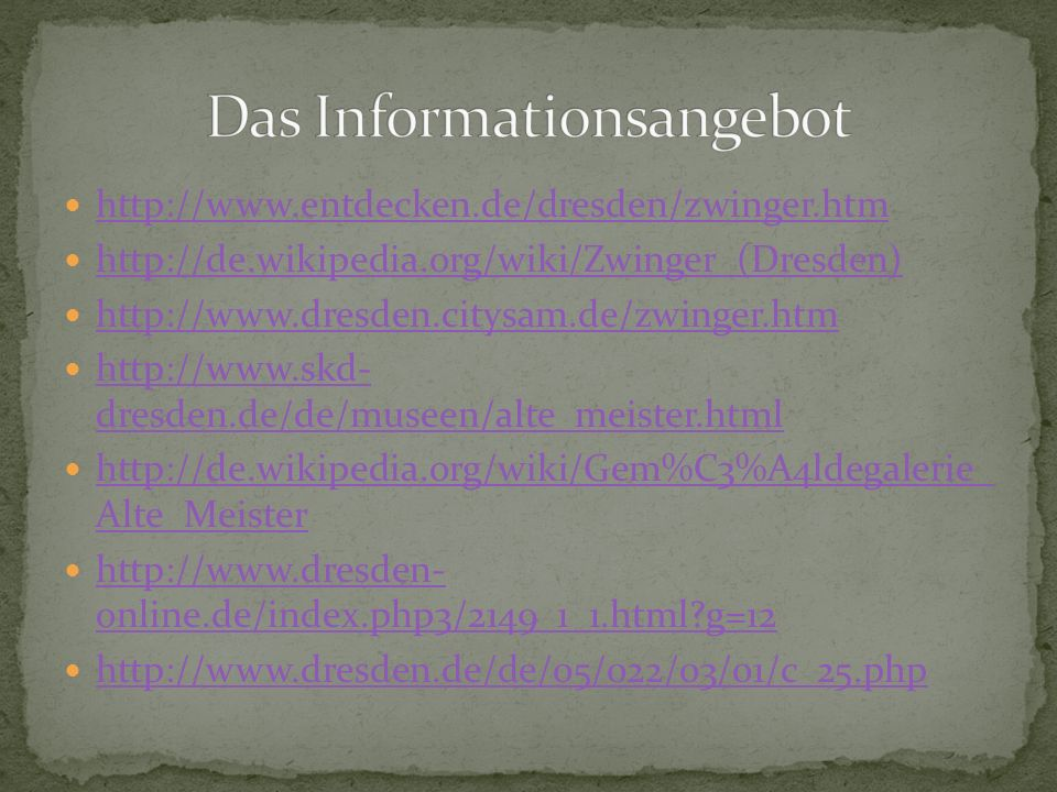 Das Informationsangebot