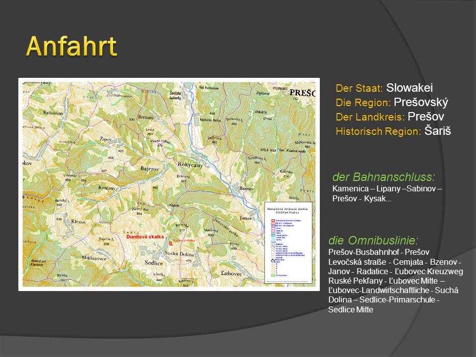 Anfahrt der Bahnanschluss: die Omnibuslinie: Der Staat: Slowakei