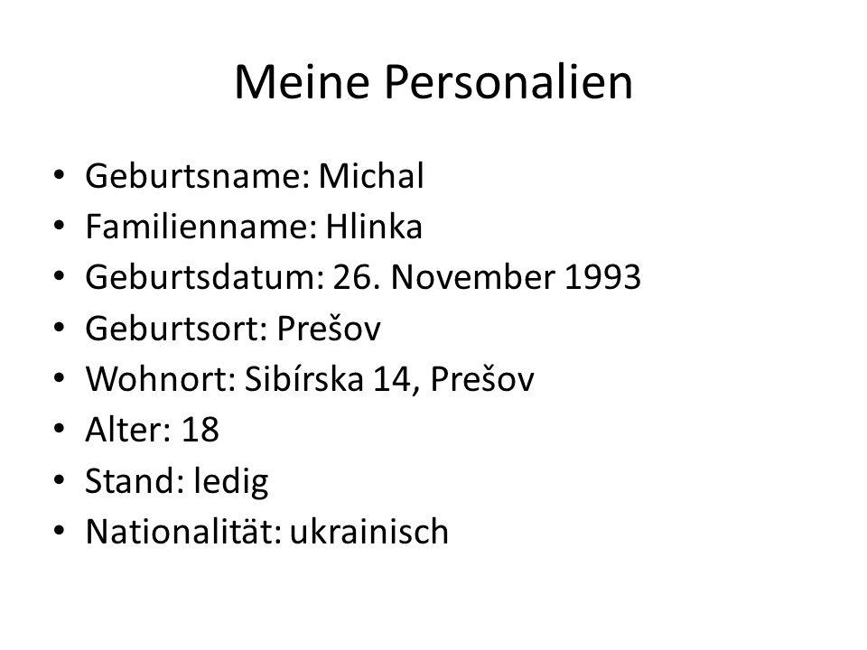 Meine Personalien Geburtsname: Michal Familienname: Hlinka
