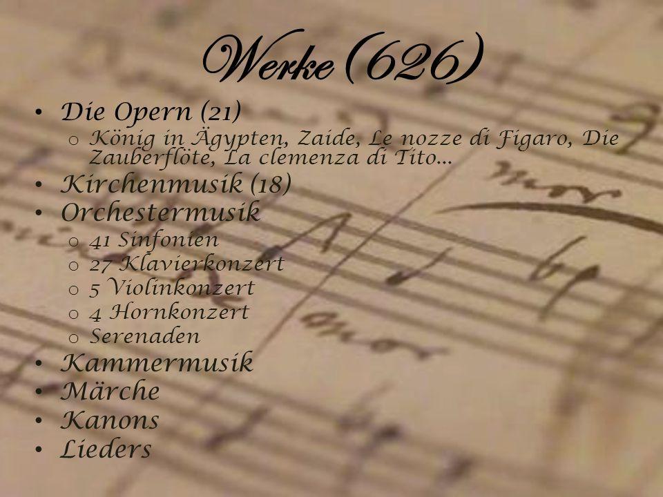 Werke(626) Die Opern (21) Kirchenmusik (18) Orchestermusik Kammermusik