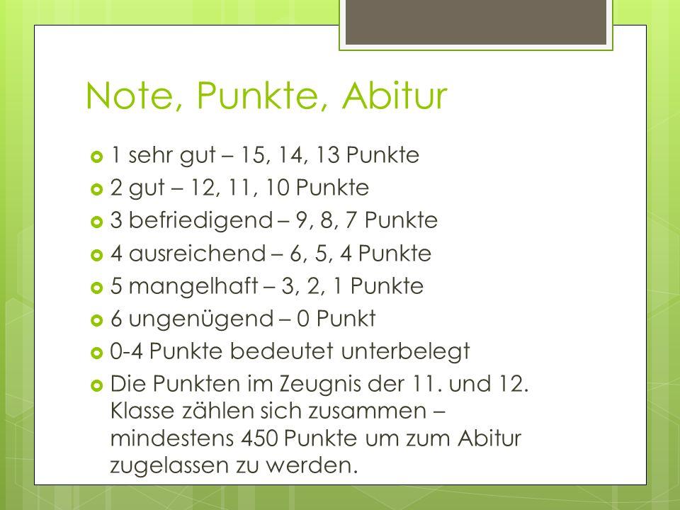 Note, Punkte, Abitur 1 sehr gut – 15, 14, 13 Punkte