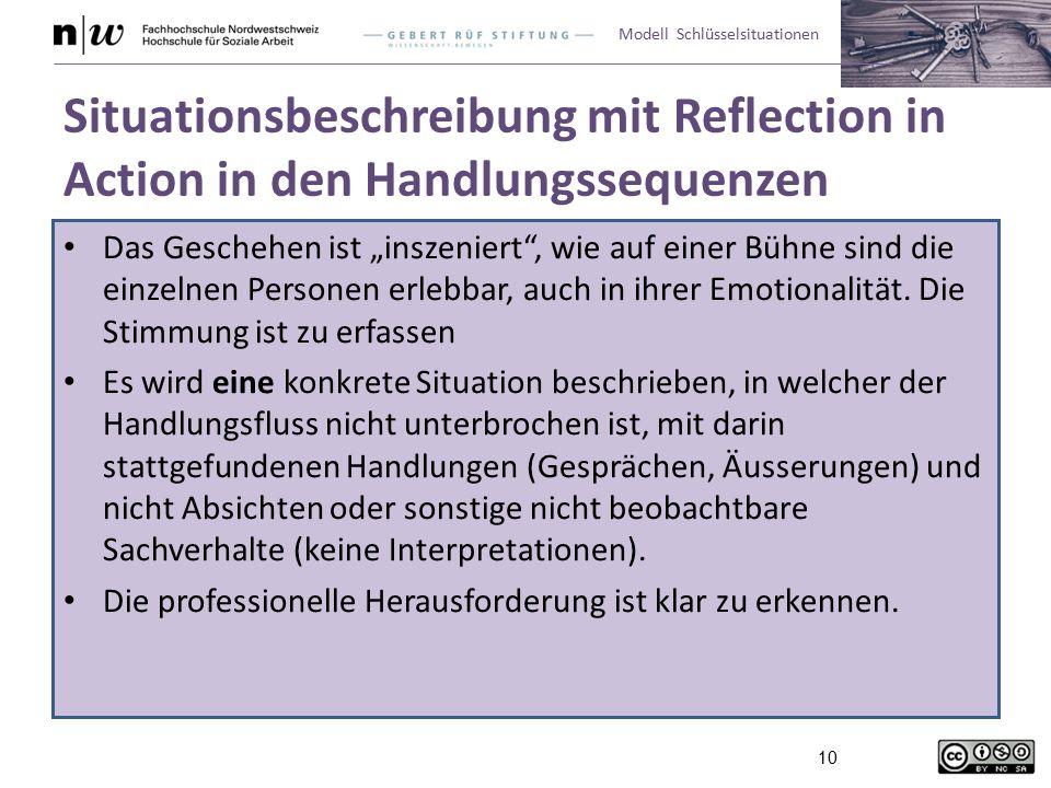 Situationsbeschreibung mit Reflection in Action in den Handlungssequenzen