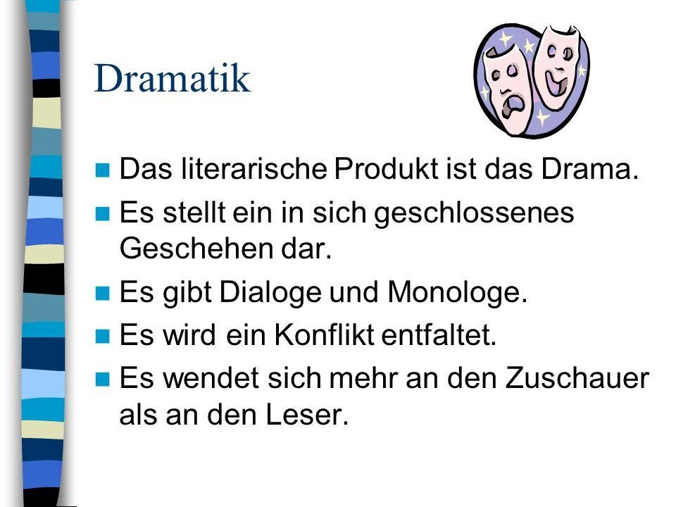 Dramatik Das literarische Produkt ist das Drama.
