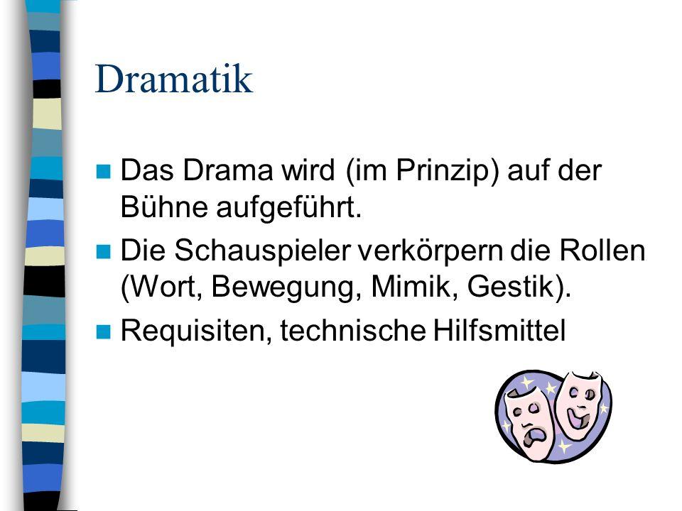Dramatik Das Drama wird (im Prinzip) auf der Bühne aufgeführt.