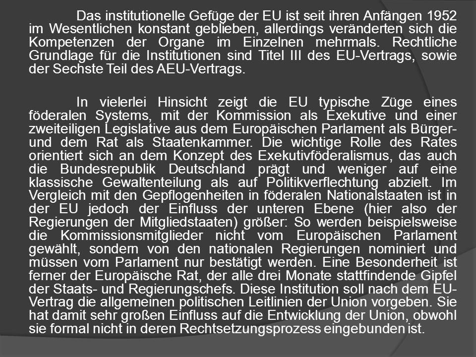 Das institutionelle Gefüge der EU ist seit ihren Anfängen 1952 im Wesentlichen konstant geblieben, allerdings veränderten sich die Kompetenzen der Organe im Einzelnen mehrmals. Rechtliche Grundlage für die Institutionen sind Titel III des EU-Vertrags, sowie der Sechste Teil des AEU-Vertrags.