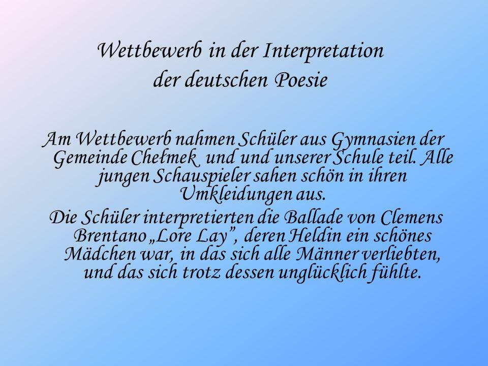 Wettbewerb in der Interpretation der deutschen Poesie