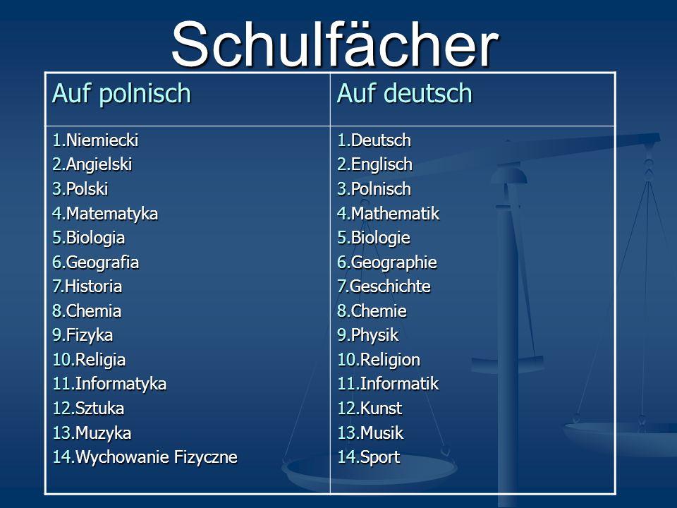 Schulfächer Auf polnisch Auf deutsch 1.Niemiecki 2.Angielski 3.Polski