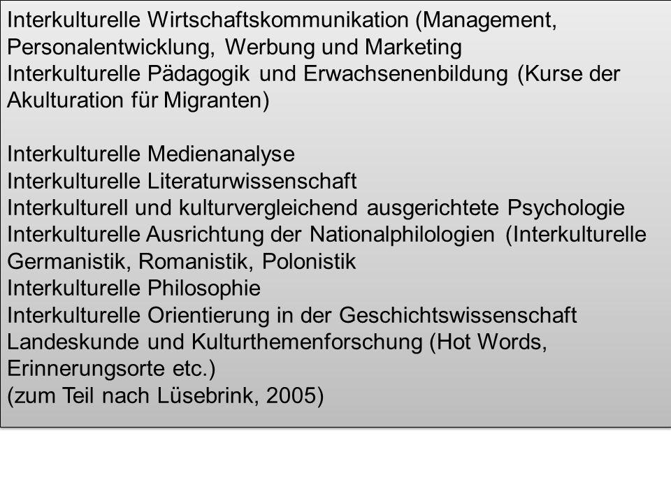 Interkulturelle Wirtschaftskommunikation (Management, Personalentwicklung, Werbung und Marketing