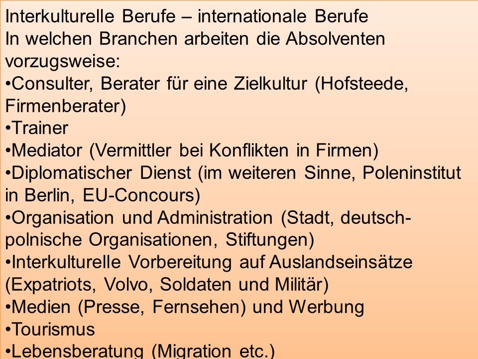 Interkulturelle Berufe – internationale Berufe
