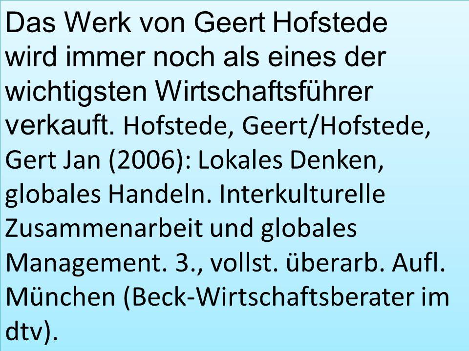 Das Werk von Geert Hofstede